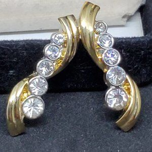 Gold Tone Crystal Stud Earrings Elegant Dress